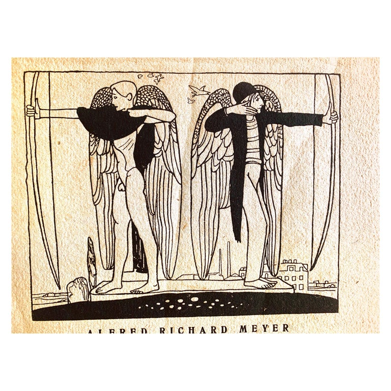 """""""Angelic Archers,"""" Poetry Booklet with Nude Male Cover Illustration by Scheibe For Sale"""