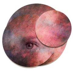 Mixed Media Collage, Planet with Eye: 'Whispers from the Cosmos #4'