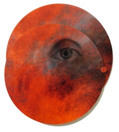 Mixed Media Collage, Planet with Eye: 'Whispers from the Cosmos #9'