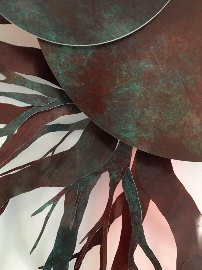 Mixed Media Planet with Roots: 'Fons et origo #3' (Source & Origin) - Brown Abstract Sculpture by Angelica Bergamini
