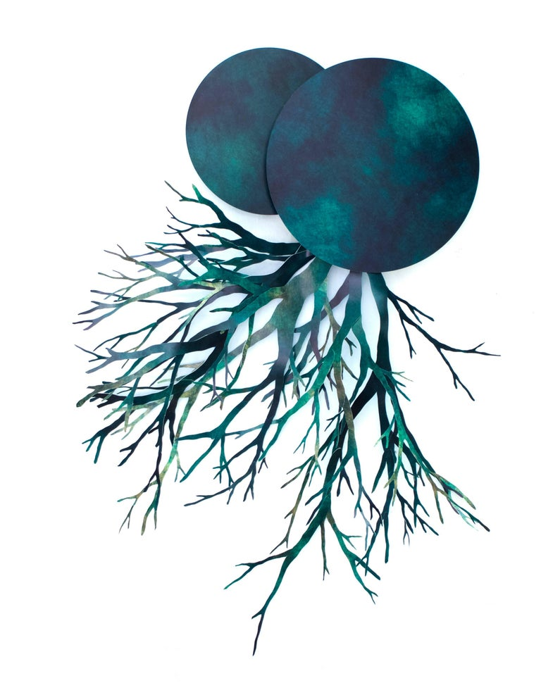 Angelica Bergamini Abstract Sculpture - Mixed Media Planet with Roots: 'Fons et origo #5' (Source & Origin)