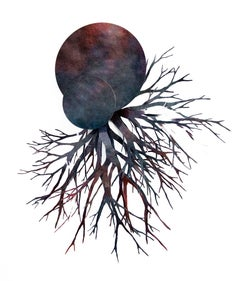 Mixed Media Sculptural Collage Planet with Roots: 'Fons et origo #7'