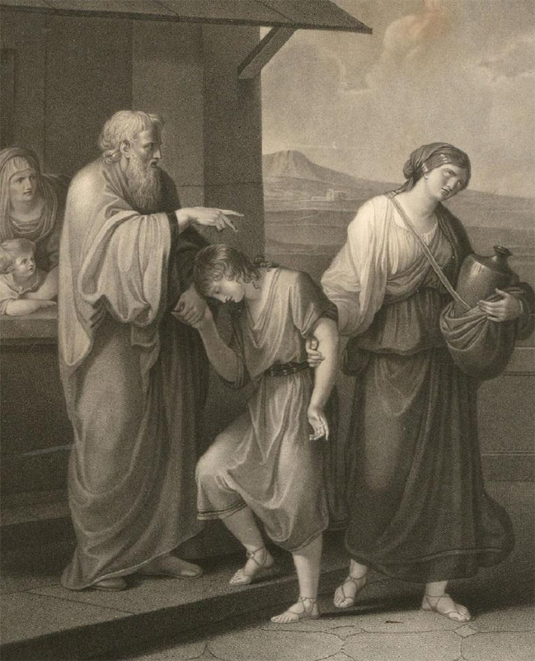 Angelica Kauffman - 18th Century Stipple Engraving, Hagar And Ishmael Banished - Gray Figurative Print by Angelica Kauffmann