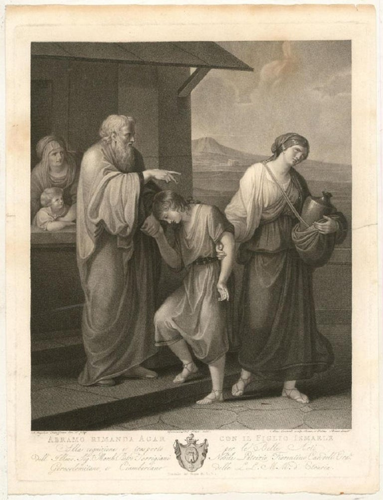 A very fine stipple engraving by Alessandro Contardi (act.1795-1822) after the original painting by Angelica Kauffman (1741-1807). This highly accomplished etching shows Abraham casting out his son Ishmael and his second wife Hagar into the desert.