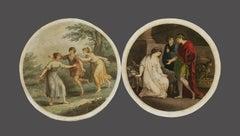 Pair of Genre Scenes - Original Etching after Angelika Kaufmann - 1780s