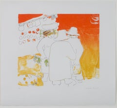 """""""Market Scene,"""" Original Brightly-colored Lithograph signed by Angelika Thusius"""