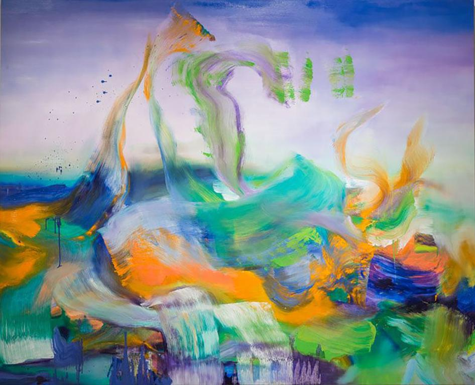 Angelina Nasso, Surrender, Oil on Canvas, 2014; abstracted, gestural landscape