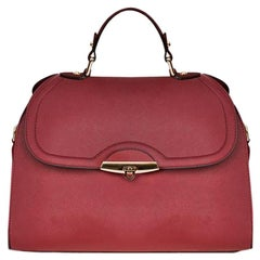 Angelina Satchel In Cranberry - Saffiano Leather Handbag