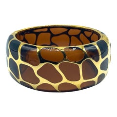 Angélique de Paris Gold Vermeil on Brown Resin Safari Bangle Bracelet