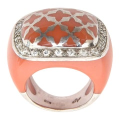 Angelique de Paris Sterling Silver, Rhinestone & Resin Dome Ring