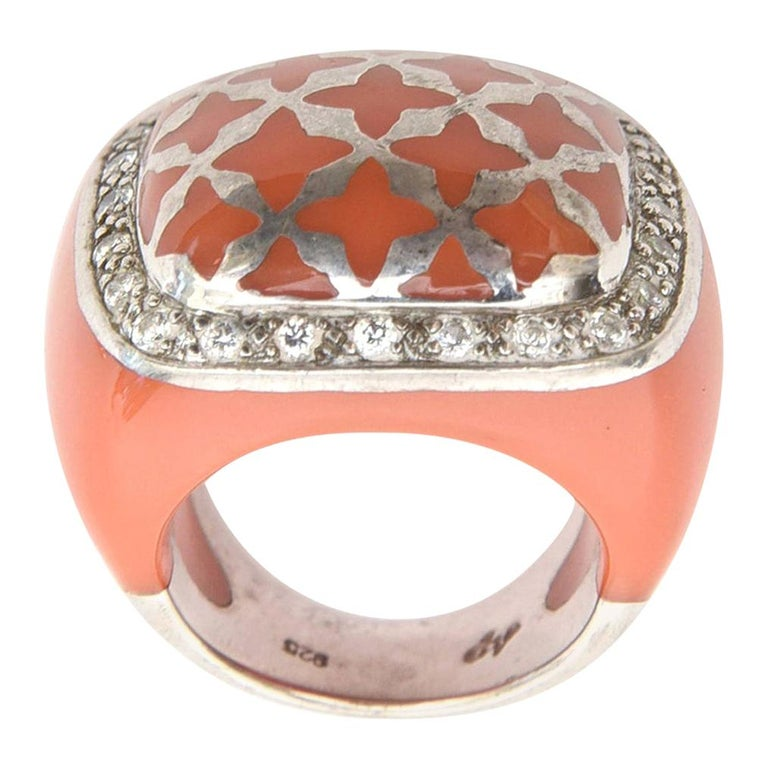 Angelique de Paris Sterling Silver, Rhinestone & Resin Dome Ring For Sale