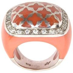 Angelique de Paris Sterling Silver, Rhinestone & Resin Dome Ring