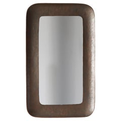 Angelo Bragalini, Wall Mirror, Hammered Copper, Mirror Glass, Italy, 1950s
