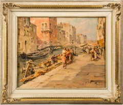 19th century Italian painting view of Venice, Venetian oil on panel signed Italy