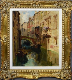 Antique Italian Cityscape Venice Canal Impressionist Signed Original Painting