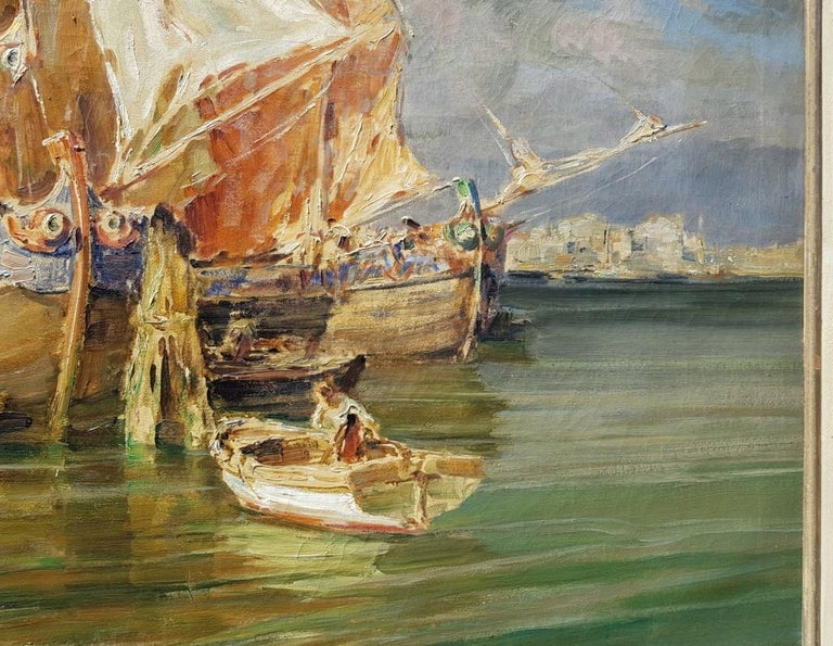 Early 20th century Italian landscape view painting Venetian Venice oil on canvas For Sale 6