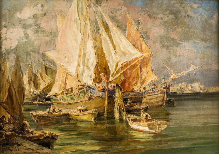 Early 20th century Italian landscape view painting Venetian Venice oil on canvas - Painting by Angelo Brombo