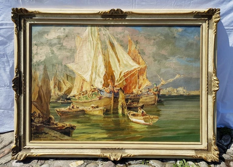 Early 20th century Italian landscape view painting Venetian Venice oil on canvas - Expressionist Painting by Angelo Brombo
