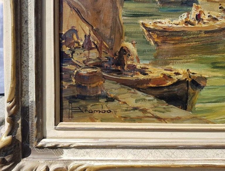 Early 20th century Italian landscape view painting Venetian Venice oil on canvas For Sale 1