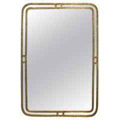 Angelo Brotto Brass Mirror, 1970s, Signed