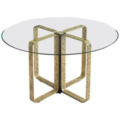 Angelo Brotto Centre Table in Brass and Glass, Italy, 1950s