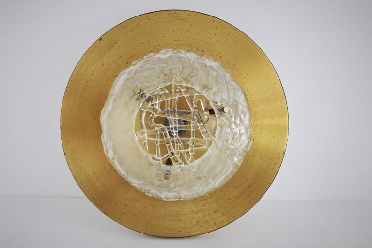 Italian Midcentury Flush Mount Lights in Brass by Angelo Brotto for Esperia, 70s For Sale 9