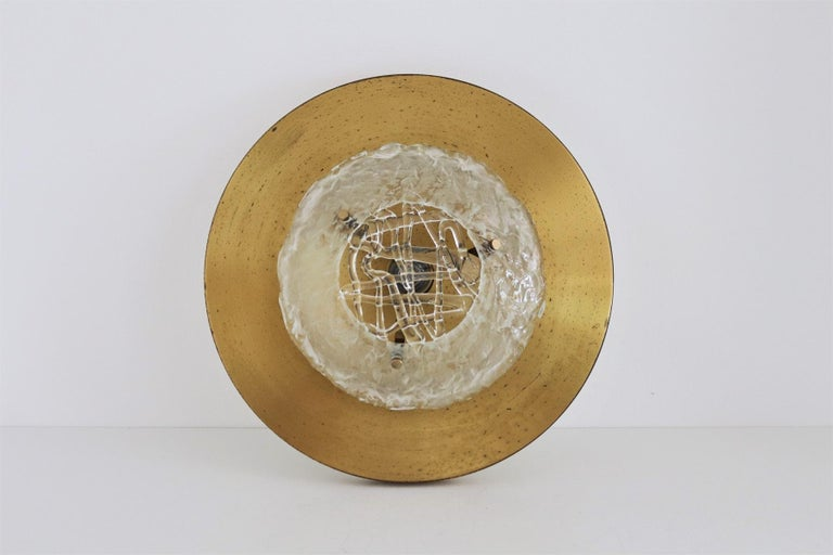 Italian Midcentury Flush Mount Lights in Brass by Angelo Brotto for Esperia, 70s For Sale 10