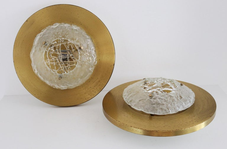 Italian Midcentury Flush Mount Lights in Brass by Angelo Brotto for Esperia, 70s For Sale 11