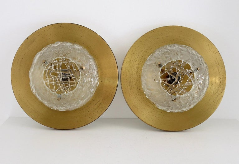 Italian Midcentury Flush Mount Lights in Brass by Angelo Brotto for Esperia, 70s For Sale 13