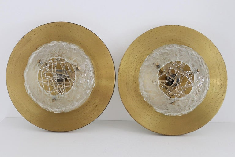 Italian Midcentury Flush Mount Lights in Brass by Angelo Brotto for Esperia, 70s For Sale 1