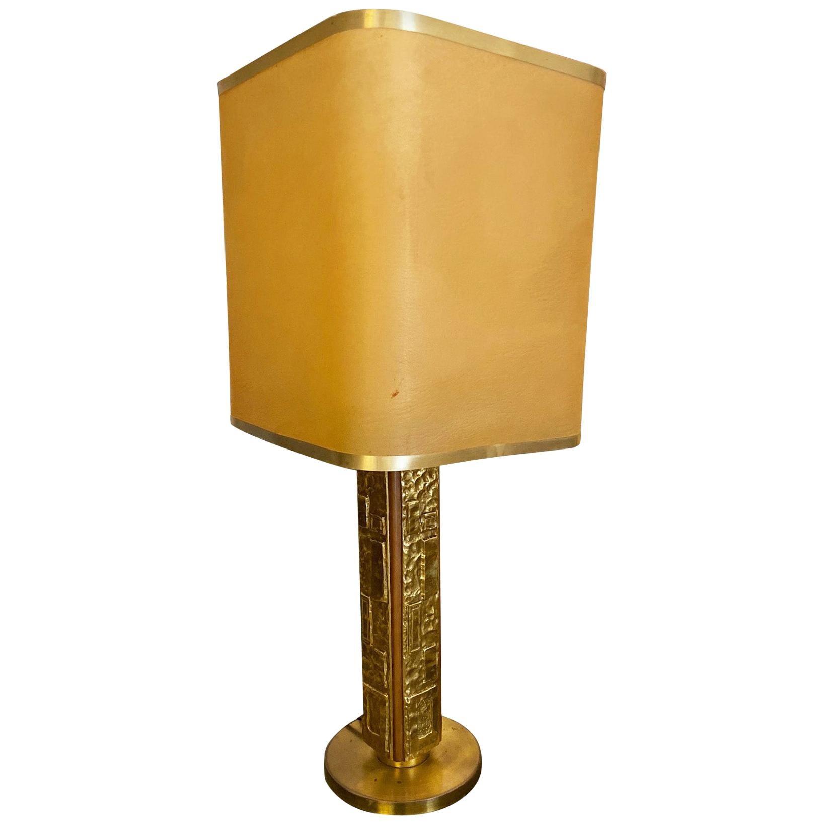 Angelo Brotto for Esperia Brass Table Lamp, Italy, 1970s