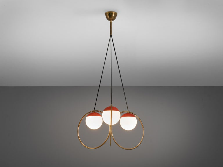 Angelo Brotto for Esperia, chandelier, metal, brass, opaline glass, Italy, 1960s  Angelo Brotto designed this chandelier for Esperia in the 1960s. It features a striking play of volumes and textures. Three spheres surround the light source. They