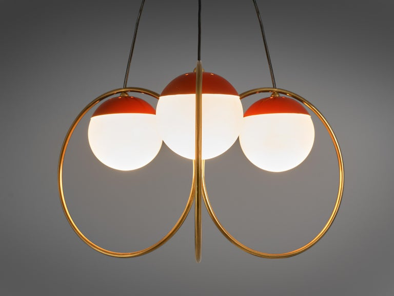 Mid-Century Modern Angelo Brotto for Esperia Chandelier in Red Metal, Brass and Opaline Glass For Sale
