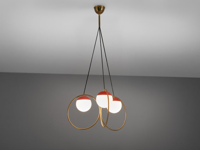 Italian Angelo Brotto for Esperia Chandelier in Red Metal, Brass and Opaline Glass For Sale