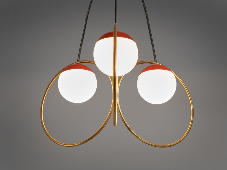 Mid-20th Century Angelo Brotto for Esperia Chandelier in Red Metal, Brass and Opaline Glass For Sale