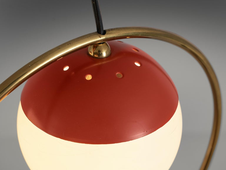 Angelo Brotto for Esperia Chandelier in Red Metal, Brass and Opaline Glass For Sale 1