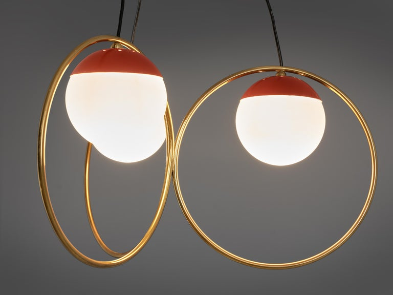 Angelo Brotto for Esperia Chandelier in Red Metal, Brass and Opaline Glass For Sale 2