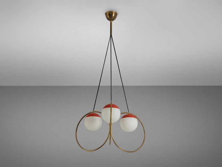 Angelo Brotto for Esperia Chandelier in Red Metal, Brass and Opaline Glass For Sale 3