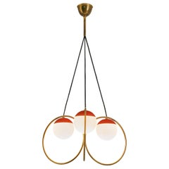 Angelo Brotto for Esperia Chandelier in Red Metal, Brass and Opaline Glass