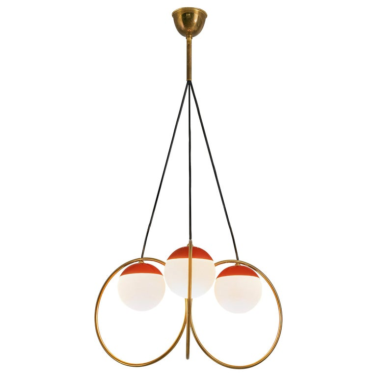Angelo Brotto for Esperia Chandelier in Red Metal, Brass and Opaline Glass For Sale