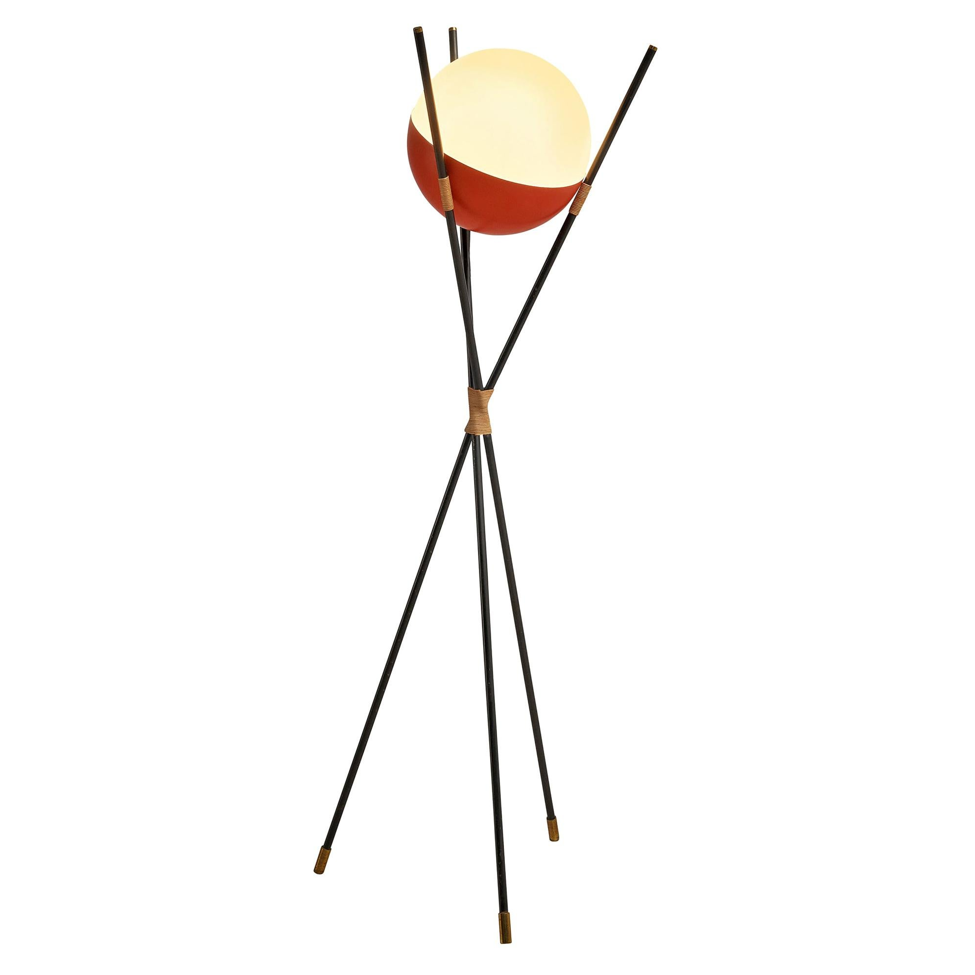 Angelo Brotto for Esperia Floor Lamp in Metal, Opaline Glass and Cane