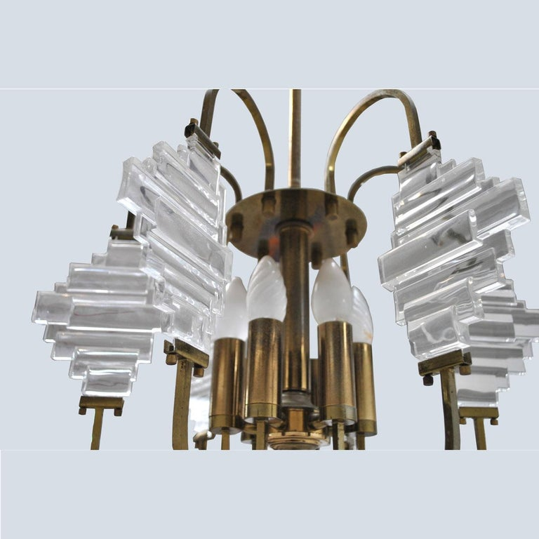 Angelo Brotto Italian Midcentury Chandelier in Brass and Glass For Sale 5
