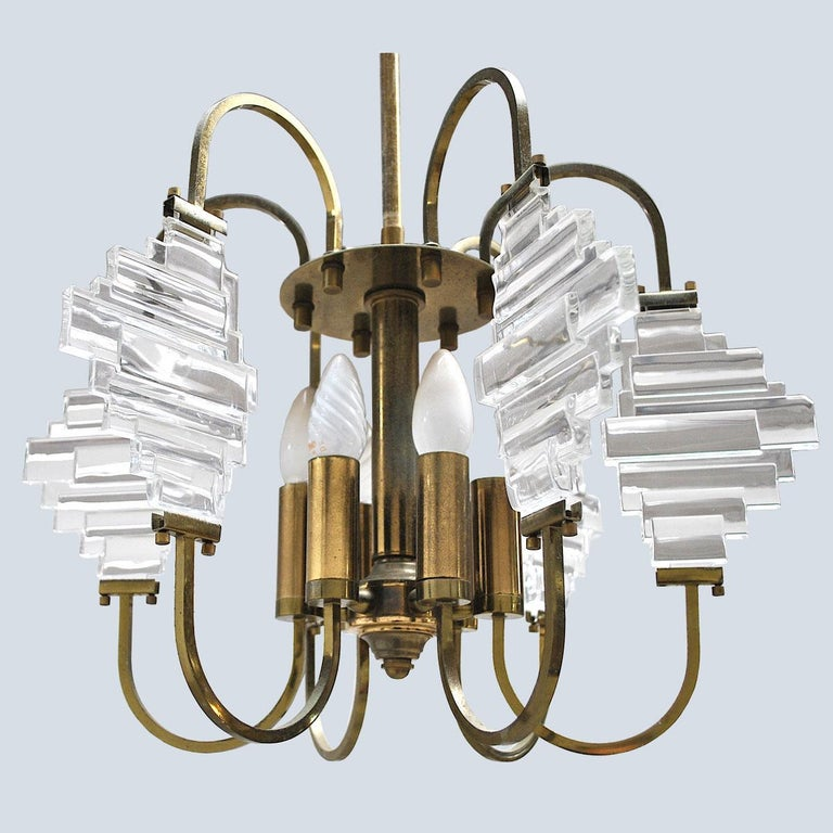 Mid-Century Modern Angelo Brotto Italian Midcentury Chandelier in Brass and Glass For Sale
