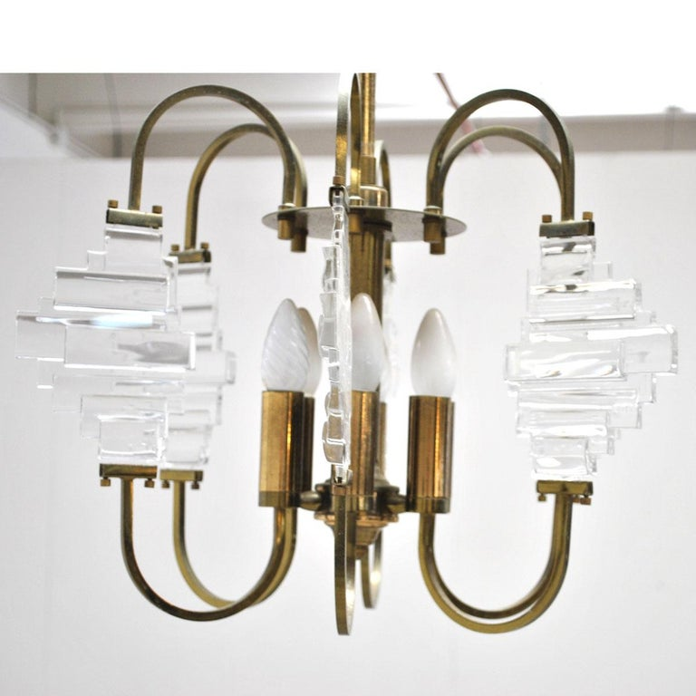 Mid-20th Century Angelo Brotto Italian Midcentury Chandelier in Brass and Glass For Sale