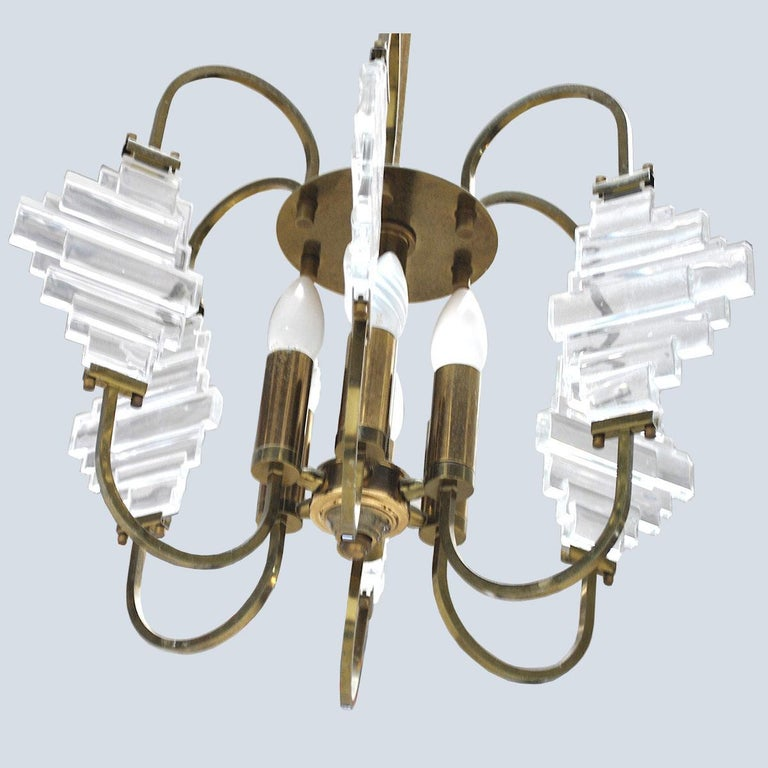 Angelo Brotto Italian Midcentury Chandelier in Brass and Glass For Sale 1
