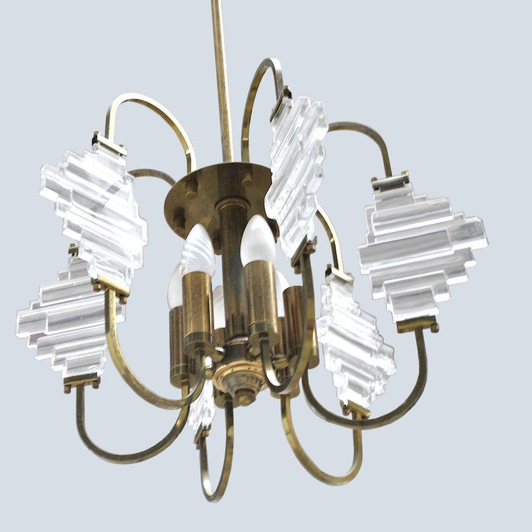 Angelo Brotto Italian Midcentury Chandelier in Brass and Glass For Sale 2