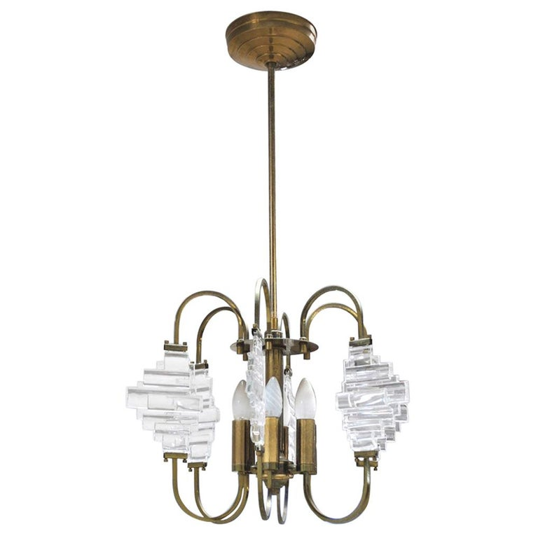Angelo Brotto Italian Midcentury Chandelier in Brass and Glass For Sale