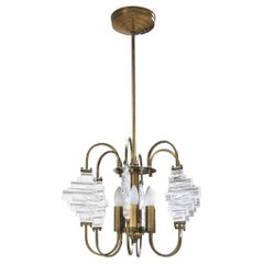Angelo Brotto Italian Midcentury Chandelier in Brass and Glass