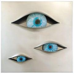 """Angelo Brotto """" Malizia """" Illuminated Wall Panel with 3 Eyes"""