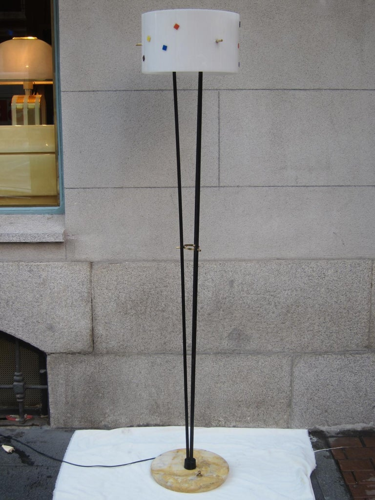 Angelo Brotto, Metal, Marble and Brass Midcentury Italian Floor Lamp, 1960 In Good Condition For Sale In Madrid, ES